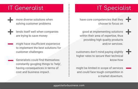 specialists  generalists