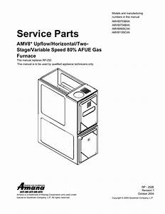 Service Parts Amv8  Upflow  Horizontal  Two Variable