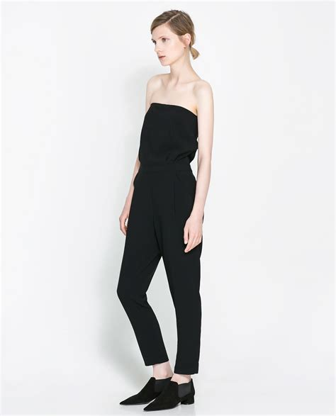 strapless jumpsuit zara strapless jumpsuit in black lyst