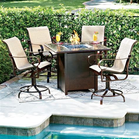 bar height patio table with fire pit woodard belden hi top fire pit set with swivel counter