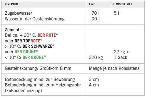 Beton Estrich Selber Mischen by Estrich Nach Din 18560 Mischungsverh 228 Ltnis Zement