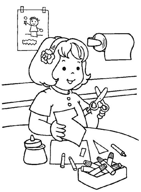 cutting paper   kindergarten coloring page coloring sky