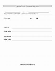 Printable consent treatment minor child for Consent form template for children