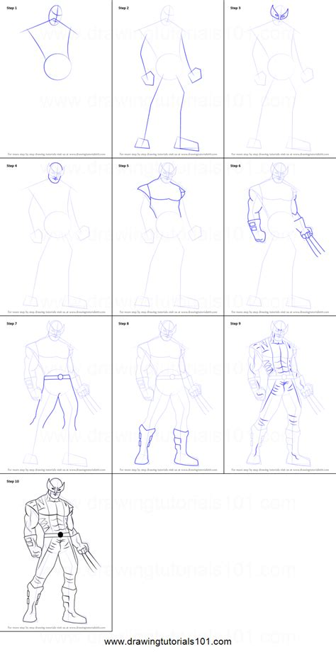 draw wolverine   men printable step  step