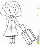 Coloring Lady Luggage Signora Pagina Coloritura Bagagli Dei Colorare Colouring Bagage Kleurende Dame Useful Cartoon Illustrazione Comic sketch template