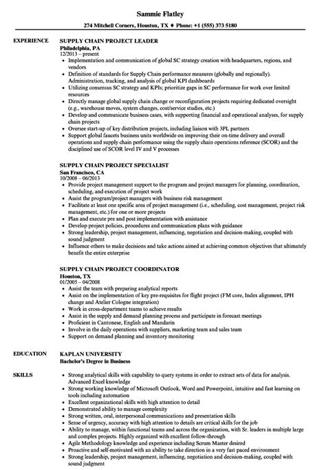 Supply Chain Project Manager Resume by Supply Chain Project Resume Sles Velvet