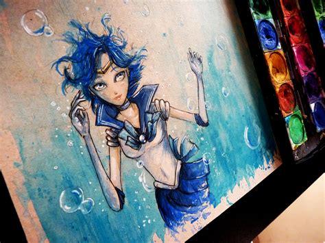 watercolor anime sailor mercury watercolor time lapse painting anime