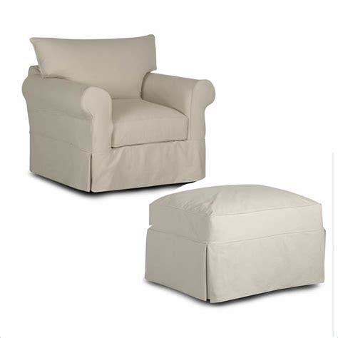 1 320 klaussner slipcover chair and ottoman 866 740
