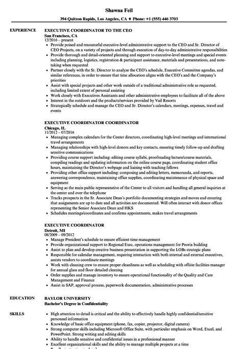 Education Coordinator Resume by Executive Coordinator Resume Sles Velvet