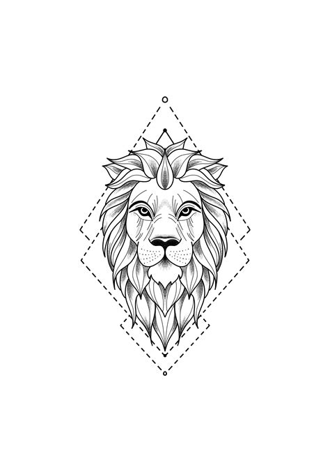 Lion Tattoo Drawing - Drawing of a lion tattoo. A mix of art and geometry - #angeltatto #