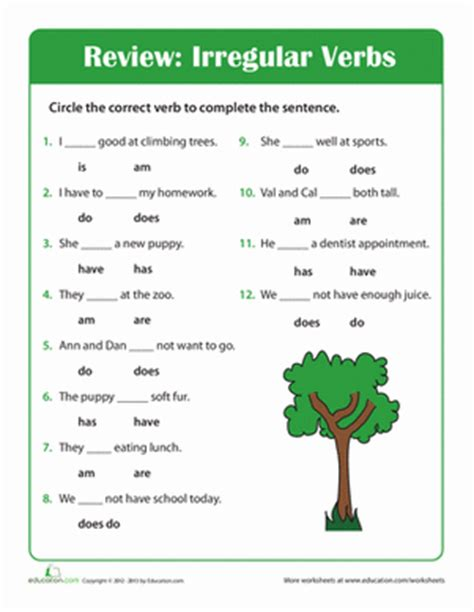 grammar time irregular verbs worksheet education