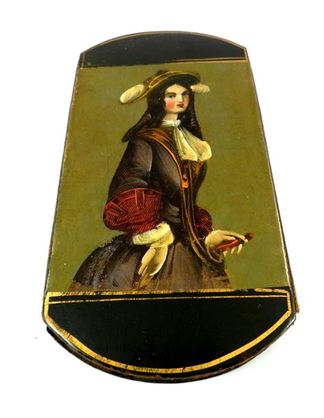 rare  century french papier mache cigar case