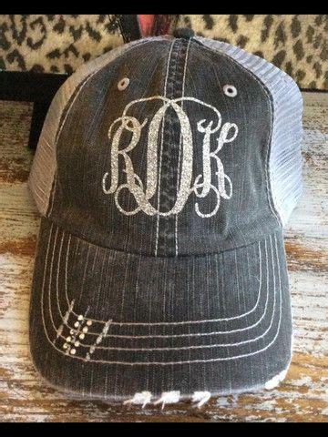 glitter monogram trucker hat  images monogram hats glitter monogrammed monogram cap