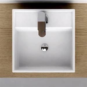 vasque a poser carree 38x38 cm plage de robinetterie With salle de bain design avec vasque extra plate poser