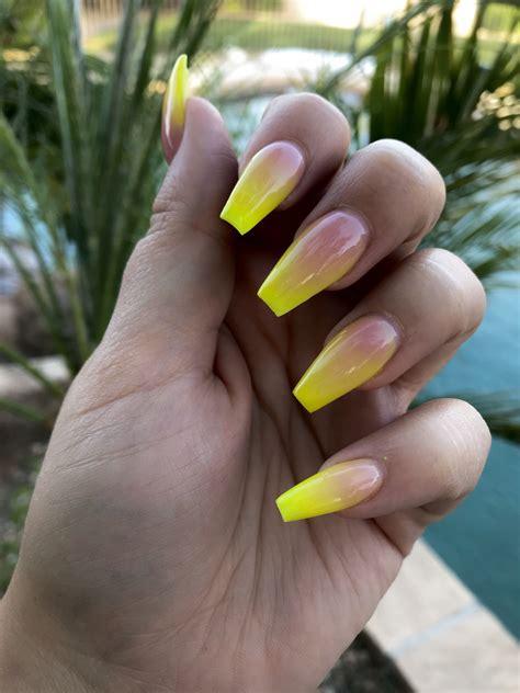 yellow ombre acrylic nails   ambre nails nail
