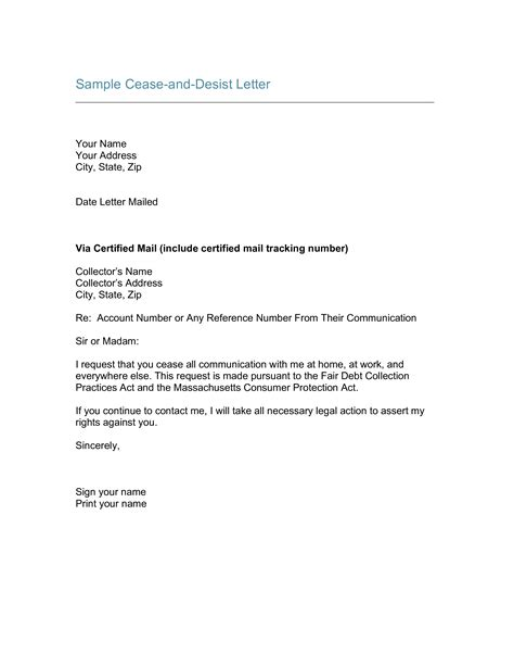 cease  desist letter template templates