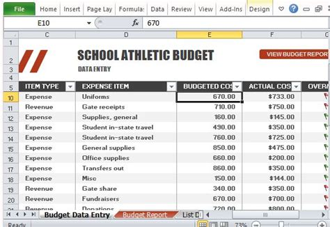 athletic budget template  excel