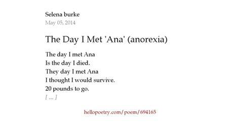 day  met ana anorexia  selena burke  poetry