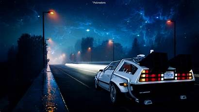 Future Delorean Fan Street Fantasy 4k Night