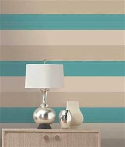 Olivia II Cream Teal Gold Stripe Wallpaper 6158