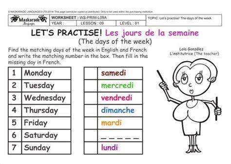 days   week  english worksheet  schematic