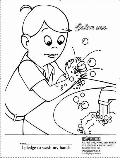 Coloring Germ Washing Pages Hand Printable Kindergarten
