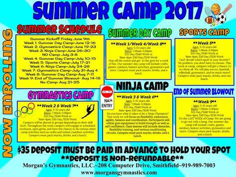 preschool summer camp schedule 2017 summer camp schedule is released s gymnastics 260