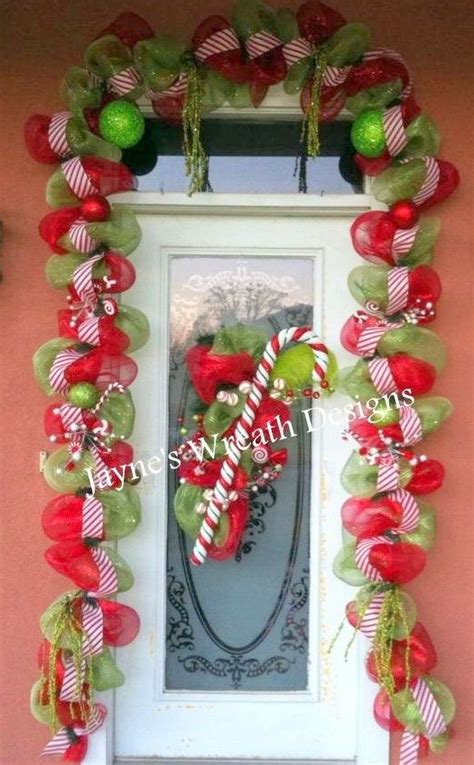 christmas garland  door swag  candy cane wreaths