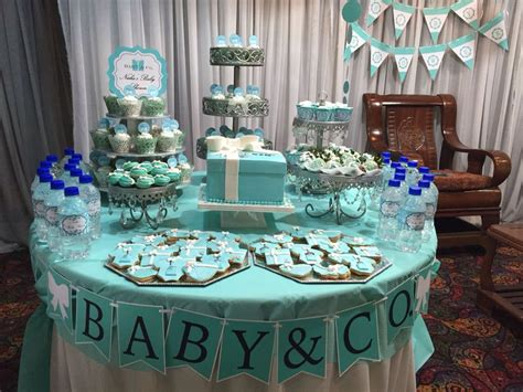 blue baby shower quot baby co quot themed baby shower table made blue