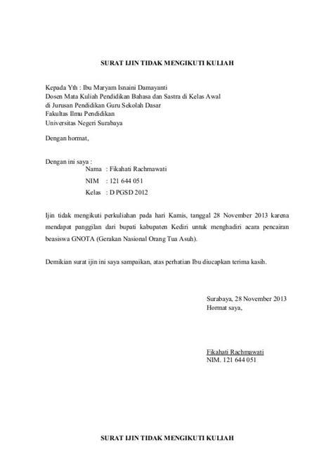 Contoh Surat Ijin Tidak Masuk Sekolah by 15 Contoh Surat Izin Tidak Masuk Kuliah Untuk Mahasiswa