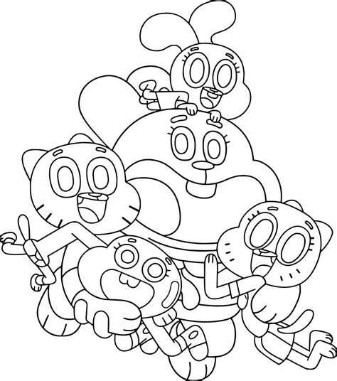 Amazing Coloring Pages The Amazing World Of Gumball Family Coloring Page