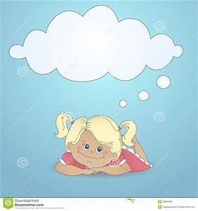 Cartoon Girl Dreaming With A Thought Bubble Stock Vector ...
