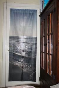 Foto fahne als vorhang fur glastur for Balkon teppich mit versace tapete blätter