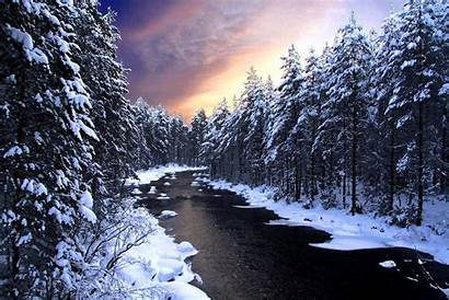 Winter Achtergrond Rivier Bomen Wallpapers Sneeuw Voor