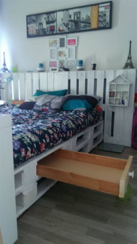 wood pallet bed  storage pallet furniture projects
