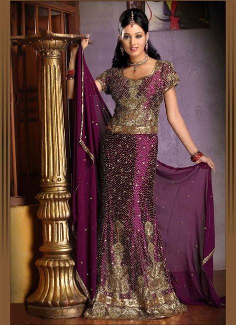 purple gold indian bridal lengha ref