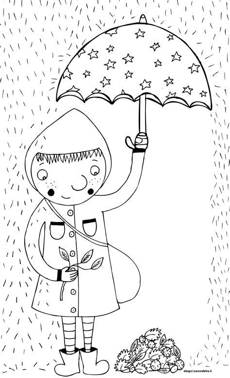 disegno da colorare autunno sotto la pioggia disegni