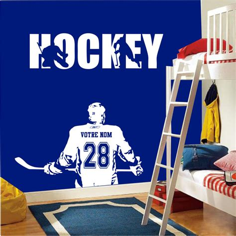 sticker chambre gar輟n wall sticker decal hockey