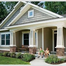 Colors Stone, Gray Shake Siding With White Trim  For The