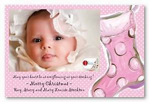 Baby Girl Pink 1st Christmas Stocking Birth Announcement