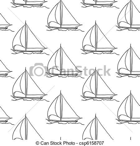 Seamless wallpaper with a sailboat on the ocean waves.