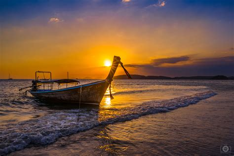 thai longtail boat  sunset background high quality