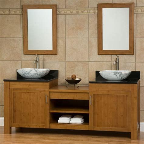 bathroom vanities images 72 quot bashe bamboo dual vessel sink vanity bathroom