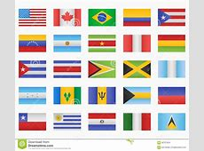 Set Of American Countries Flags Stock Vector Image 58707454