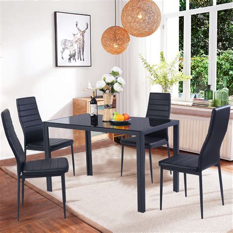 costway  piece kitchen dining set glass metal table