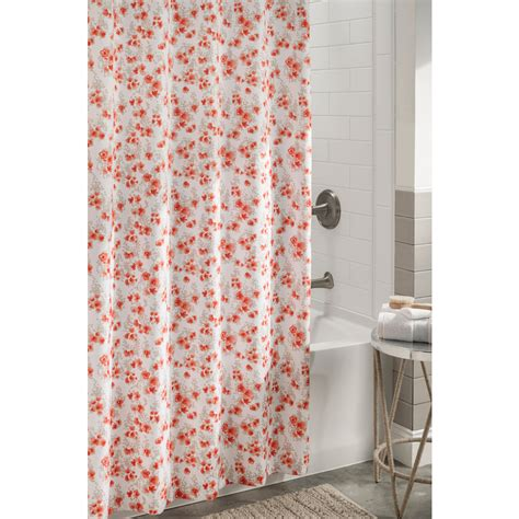 Shop allen roth Polyester Coral Floral Shower Curtain 72 in x 72 in at Lowes.com