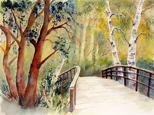Bilder Bäume Gemalt : bild br cke baum landschaft aquarell von ildiko passarge bei kunstnet ~ Orissabook.com Haus und Dekorationen