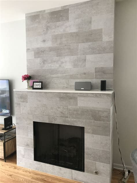 modern rustic fireplace cool sleek wood grain gray