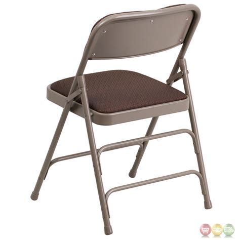 hercules hinged brown patterned fabric upholstered metal folding chair