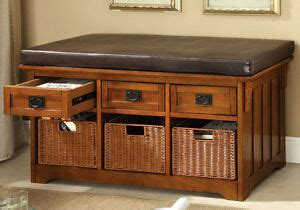 hobart accent storage bench drawers baskets padded
